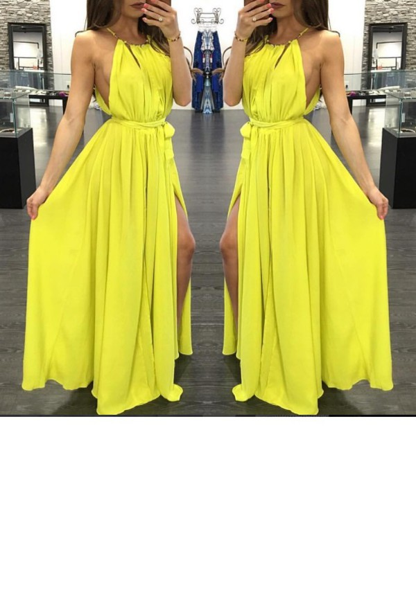 dress clothes tumblr clothes flowy dress maxi dress yellow dress