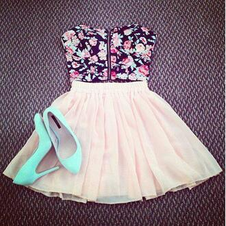 dress floral crop top light pink skirt blue heels shirt top skirt floral tank top shoes flowers underwear