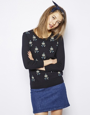 NW3 | NW3 May Sweater with Cross Stitch Flower Design at ASOS