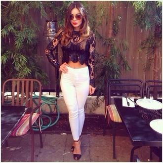 back crop top white pants crop tops lace top black heels sunglasses