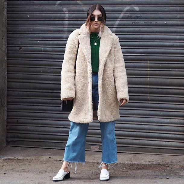 coat tumblr oversized white coat denim jeans blue jeans cropped jeans boots shoes teddy bear coat fuzzy coat