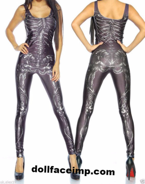 jumpsuit skeleton print tight catsuit black jumpsuit tight skeleton gothic grunge goth spandex halloween costume clubwear edgy rock wheretoget