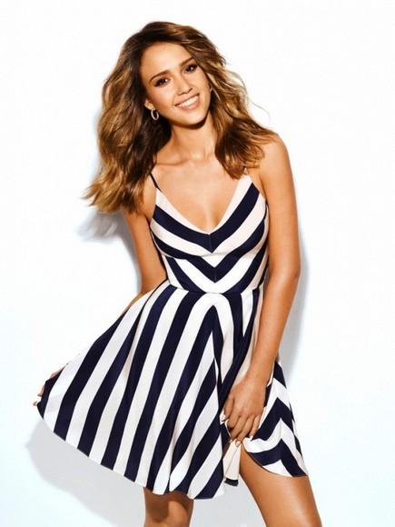 jessica alba dress stripes summer dress