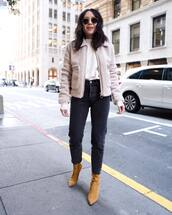 coat,faux fur coat,heel boots,black jeans,white t-shirt,sunglasses,streetstyle,streetwear