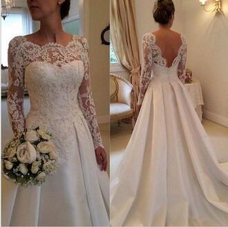 dress wedding dress lace wedding dress full long sleeves wedding dresses backless wedding dress