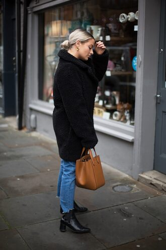 coat tumblr black coat fuzzy coat teddy bear coat denim jeans blue jeans cropped jeans boots ankle boots black boots bag brown bag
