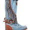 70mm joplin denim & leather wedge boots