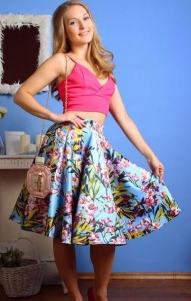 Skirt: blue and floral skirt, floral print skirt, pleated skirt ...