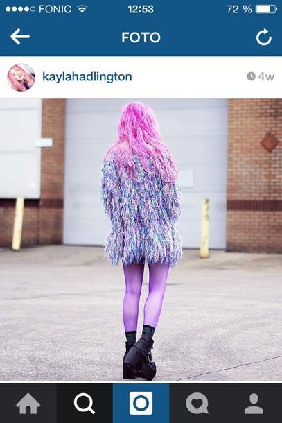 jacket grunge faux fur pastel goth pastel