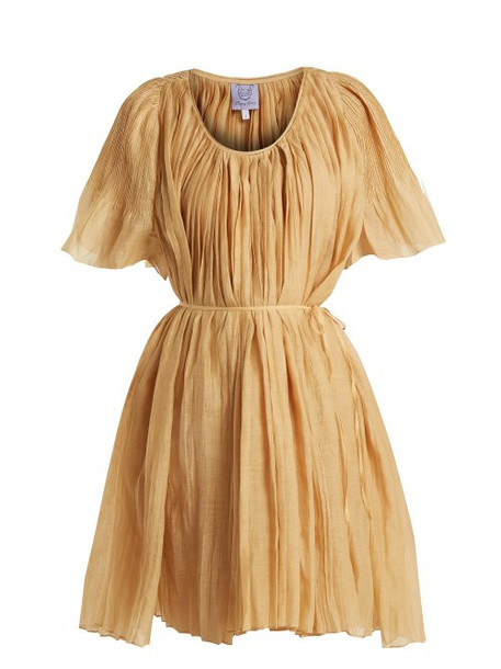 Thierry Colson - Sparta Pleated Cotton And Silk Blend Dress - Womens - Gold