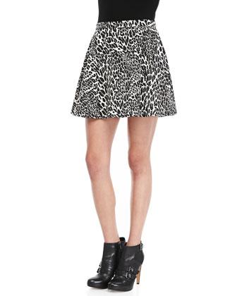 Amanda Uprichard Silk Leopard-Print Miniskirt - Neiman Marcus
