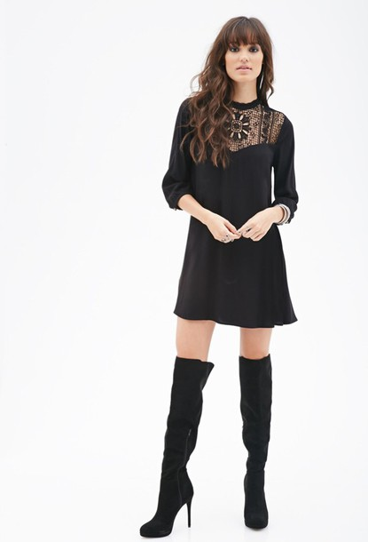 Dress: black, forever 21, forever 21, long sleeve dress, long ...