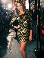 dress,gold,black,sequin dress,gold sequins,glitter dress,zigzag,mini dress,formal party dresses,newyears dress,style,chevron,chevron dresses,jessica alba
