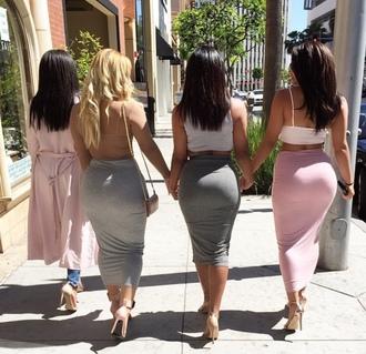 skirt grey skirt pink skirt long skirt