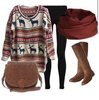 brown leather boots deer oversized sweater