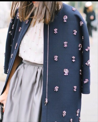 jacket dark blue dark blue jacket violet pink flowers floral floral jacket clothes pink flowers outfit skirt shirt white taupe grey girl cute beautiful violet jacket embroidered