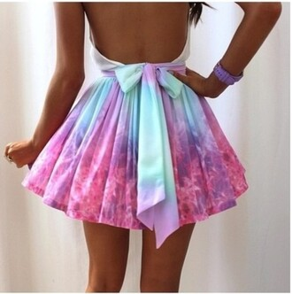 skirt galaxy print cute blue bows clothes colorful girly rainbow sexy bottoms mini skirt summer outfits