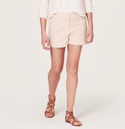 Diamond Eyelet Riviera Shorts with 4 Inch Inseam | Loft