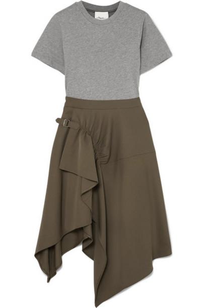 3.1 Phillip Lim - Asymmetric Cotton-jersey And Wool-gabardine Dress - Army green