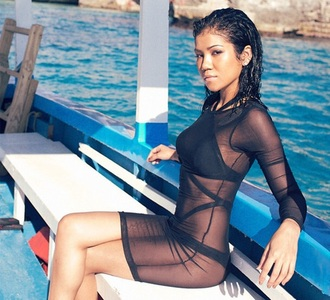 jhene aiko swimwear mesh dress sheer cover up dress see through dress summer summer dress see through long sleeve dress