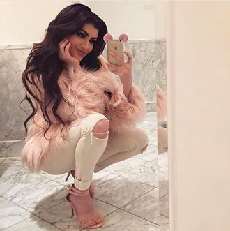 coat faux fur fur coat pink