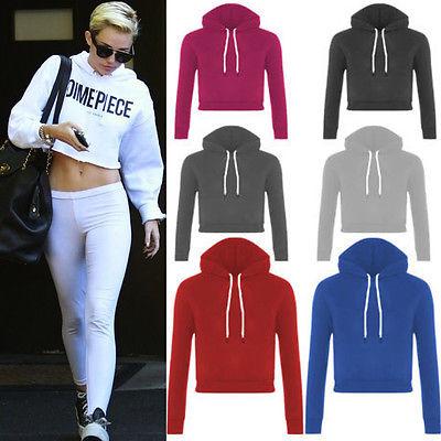 Long Sleeve Sport Dance Pullover Jumper Hooded Sweatshirt Crop Top ...