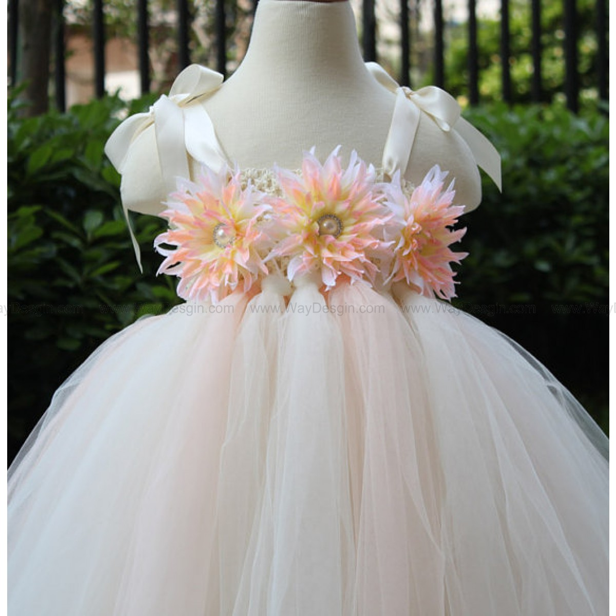 Flower Girl Dress Blush peach Ivory tutu dress baby dress toddler birthday dress wedding dress