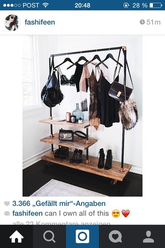 home accessory wooden clothes home decor tumblr style girl grunge closet rack