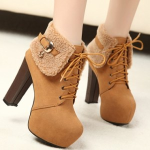 Round Toe Chunky High Heel Lace Up Ankle Buckle Brown PU Martens