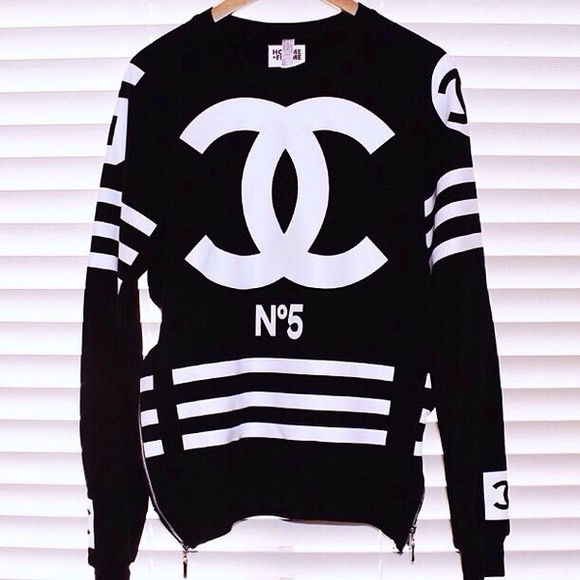 chanel white sweater chanel sweatshirt shirt black long sleeve long sleeves stripes cc shirt coco t-shirt chanel style jacket