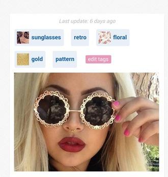 sunglasses gold pattern floral pattern