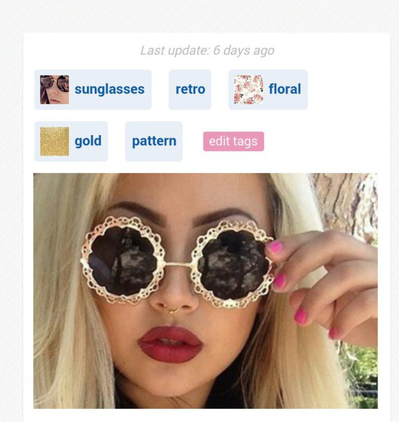 sunglasses gold pattern floral pattern