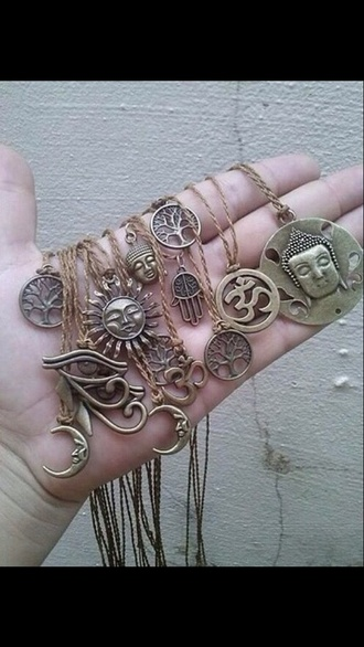 jewels necklace gold cute vintage charms hand hamsa coins buddha tree symbol symbols moon sun circle triangle long necklace short necklace