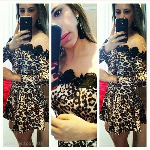 leopard print sexy dress dress lace dress