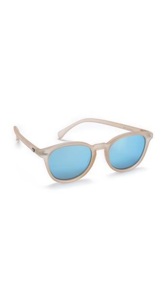 Le Specs Bandwagon Sunglasses - Raw Sugar/Ice Blue Revo Mirror