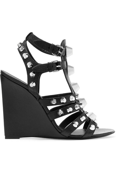 f3aedccb53d97 Balenciaga Studded Textured-Leather Wedge Sandals in black - Wheretoget