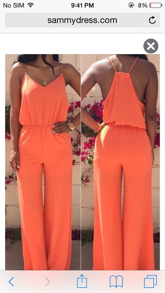 orange summer outfits formal event outfit jumpsuit wide-leg pants gold watch