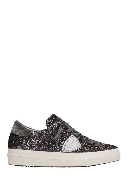 Philippe Model glitter sneakers burgundy shoes