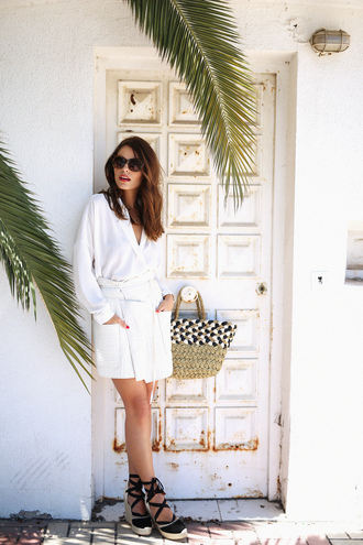 seams for a desire blogger shoes bag jewels sunglasses blouse top beach bag lace up heels