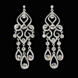 jewels earrings rhinestones silver jewelry sparkley