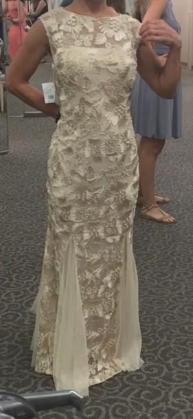 dress gown prom dress cream dress