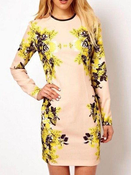 dress bodycon floral long sleeve dress