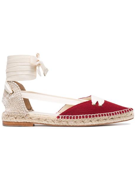 women espadrilles leather cotton red shoes