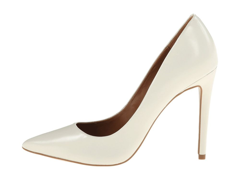 Steve Madden PROTO Women's Leather Classic Pointy Toe Pumps White