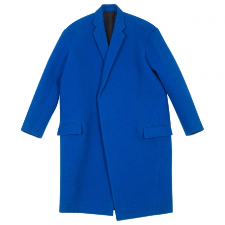 Pardessus oversized bleu dur CELINE Blue size 34 FR in Wool All seasons - 658123