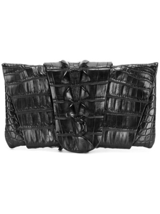 clutch black crocodile bag