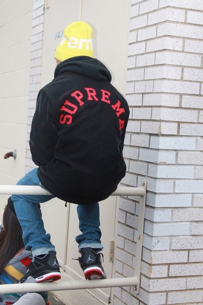 jacket black supreme supreme jacket supreme sweater hoodie urban menswear mens hoodie
