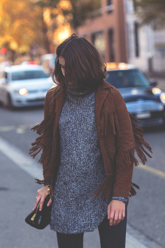 the fashion fraction blogger fringed jacket suede jacket heather grey turtleneck grey sweater