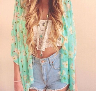 jacket summer shorts blouse light blue kimono cardigan blue cardigan floral cardigan colorful patterns summer cardigan lovely cute cardigan girly