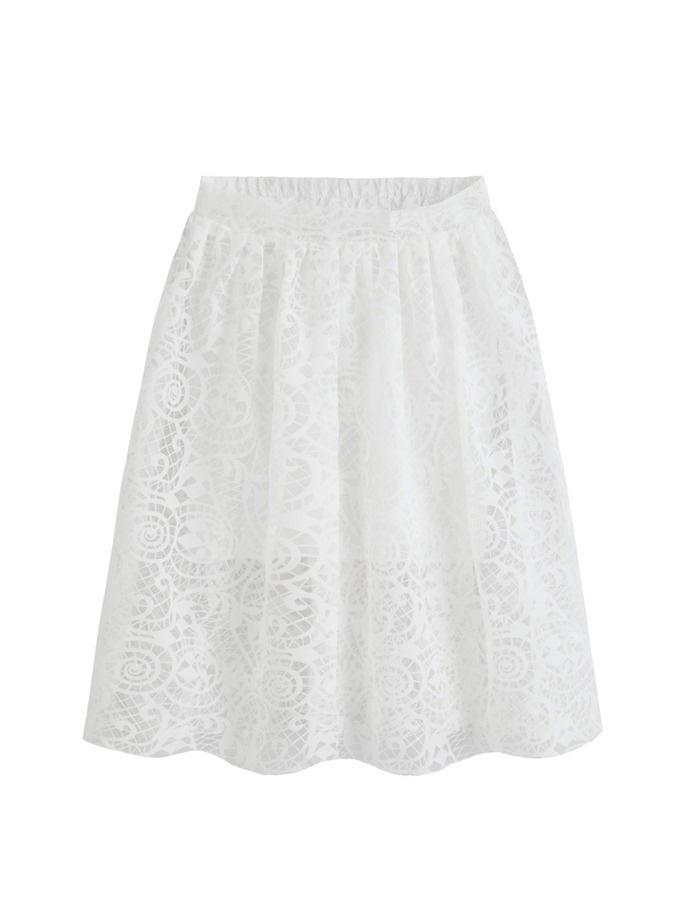 Sweet lace hook flower elastic waist skirt white